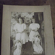 Circa 1910 Cabinet  Picture Two Little Girls and Their Dolls