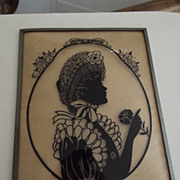 SOLD Lady With Carnation Silhouette Convex Glass