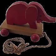 Vintage Wood Elephant Pull Toy