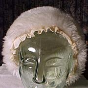 White Faux Fur Winter Bonnet