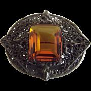 Deco Pin With Glass Topaz Stone