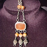 Early Necklace With Orange Beads