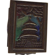 Early Brass and Enamel China Stamp Box