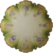 Porcelain Plate With Purple Flowers