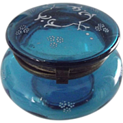 Blue Bohemian Glass Container