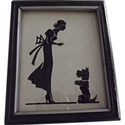 SOLD Silhouette With Lady and Scotty Dog