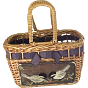 Vintage Summer Bag With  Chickadees