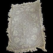 Edwardian Tablecloth With Fringe, Flowers