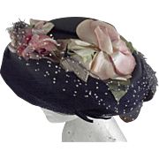 Navy Hat With Pink Cabbage Roses