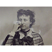 Tintype Victorian Lady In plaid Dress Tinted Cheeks