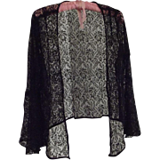 Black Lace Jacket From the Thirties With Bell Sleeves