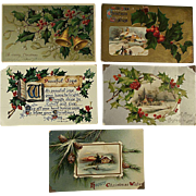 SOLD Five  Embossed Christmas Postcards Circa 1909