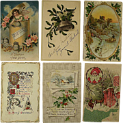 SOLD Six Embossed Christmas Cards Circa 1909