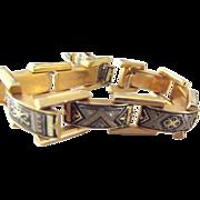 Damascene Domed Rectangle Link Bracelet
