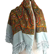 Large Paisley and Baby Blue Scarf