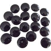 Vintage Black Glass Faceted Buttons