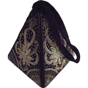 Handbag From The 1950's Metal Thread Trim