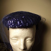 SALE Fancy Electric Blue Sequined Hat