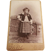 Cabinet Card of Boy With Riding Crop N.Y.