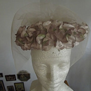 SALE Beige Floral Hat