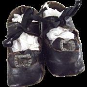 Black Oilcloth Shoes With Original Toe Decoration
