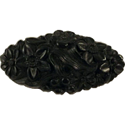 Vulcanite Floral Brooch