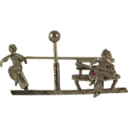 Sterling Brooch With Lamp Post, Dancer, Park Bench and Guitar Player