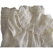 Victorian/Edwardian ,Lawn Baby Gown, Extra Long With Insertion Lace, Ruffles one repair to the