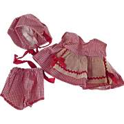 Red and White Checked Three Piece Doll Outfit