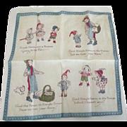 Vintage Children's Handkerchief With Nursery Rhyme