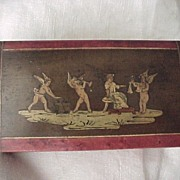 SALE Stamp Box With Inlaid Angels