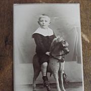 SOLD Carte de Viste of Boy on Rocking Horse