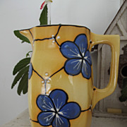 SALE Czech Bern Yellow Ceramic Pitcher Blue Flowers  Country Kitchen Decor Table Decoration
