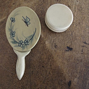 SALE PENDING Doll's Mirror and Powder Container
