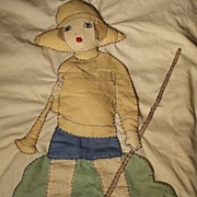 Pillowcase With Raised Child and Riding Crop and Horn