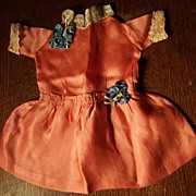 SOLD Tangerine Orange Dress With Lace and Trim