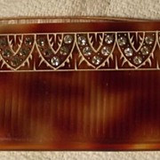 Vintage Comb In Rhinestone and  FauxTortoise Case