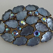 Molded Blue Glass and Rhinestone Pin