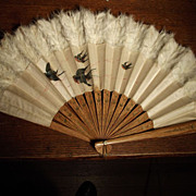 SALE Lovely Old Fan With Birds and Feathers