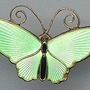 SALE Lime Green Enamel David Anderson Butterfly Pin