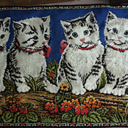 SALE Vintage Rug With Kittens