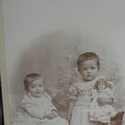 SOLD Cabinet Card Two Girls and A Doll