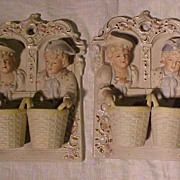 SALE Pair of  Vintage Figural Wall Plaques