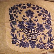 Two Vintage Blue and White Needlework Pieces