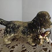 Old Composition Spaniel Dog With Metal Basket