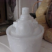 Old Milk Glass Ship CAndy Container