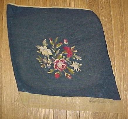 Two Vintage Dark Blue Needlework Pieces