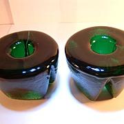 SOLD Blenko 1970s Art Glass Tripod Candleblocks Pine Green Candleblocks- Retro Scandinavian Mo