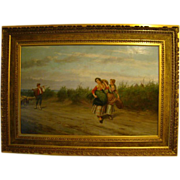 Pietro Gabrini antique Italian oil painting women in field