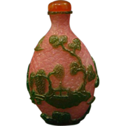 Peking cameo glass snuff bottle rosaline scenic bonsai pagoda